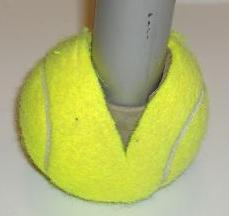 Used tennis ball prevents slipping